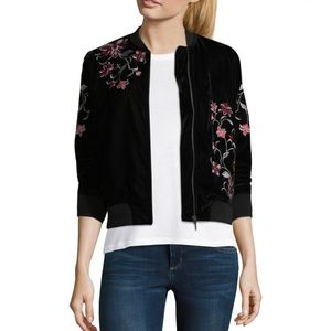 NWT✨a.n.a Embroidered Velvet Bomber Jacket